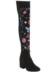 Strategia 70Mm Floral Stretch Faux Suede Boots