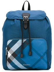 Burberry Packable Check Detail Backpack Blue