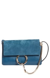 Chloe Women's Mini Faye Suede And Leather Wallet On A Chain Blue Majolica Blue