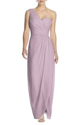Dessy Collection Women's One Shoulder Draped Chiffon Gown Suede Rose
