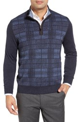 Thomas Dean Men's Quarter Zip Check Wool Sweater Navy
