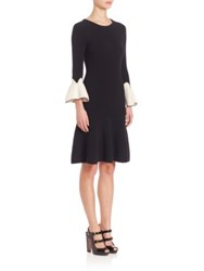 Alexander Mcqueen Merino Wool Bell Sleeve Colorblock Knit Dress Black Ivory