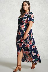 Forever 21 Plus Size Floral Maxi Dress Navy Pink