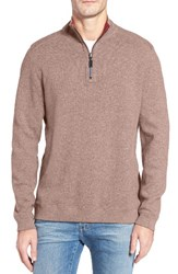 Tommy Bahama Men's Flip Side Reversible Quarter Zip Twill Pullover Cobblestone Heather
