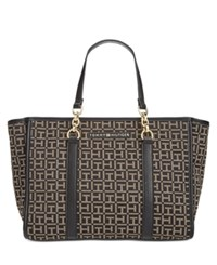 Tommy Hilfiger Emilia Monogram Jacquard Small Tote Black Dark Pepper