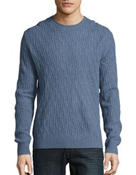 Black Brown Cable Knit Wool Blend Sweater Slate Blue