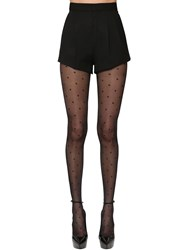 Saint Laurent Virgin Wool Grain De Poudre Shorts Black