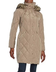 Michael Michael Kors Faux Fur Trimmed Quilted Down Coat Brown