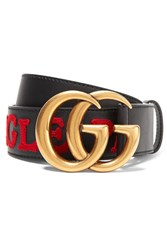 Gucci Embroidered Leather Belt Black