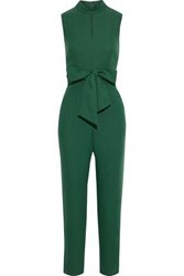 Iris And Ink Woman Luna Bow Detailed Crepe Jumpsuit Forest Green