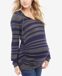 Motherhood Maternity Hooded Ruched Sweater Char Navy