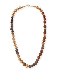 Akola Long Glass Metallic Necklace Brown Green