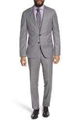 Boss Ryan Win Extra Trim Fit Solid Wool Suit Grey