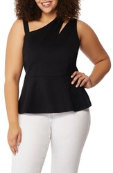 Rebel Wilson X Angels Plus Size Women's Asymmetrical Cutout Peplum Top Black