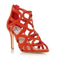 Dune Maida Loop Caged High Heel Sandals Orange