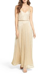 Lulus Women's Blouson Shimmer Gown Taupe Gold