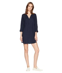 Allen Allen Solid Two Pocket Dress Lapis Navy