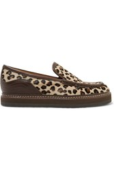 See By Chloe Leather Trimmed Leopard Print Calf Hair Loafers Leopard Print