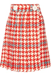 Miu Miu Pleated Houndstooth Wool And Cotton Blend Boucle Tweed Skirt