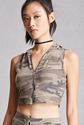Forever 21 Camo Cropped Hoodie Vest Brown