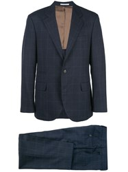 Brunello Cucinelli Striped Suit Blue