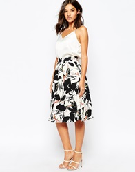 Warehouse Abstract Poppy Midi Skirt Multi
