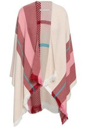 Maje Woman Fringed Striped Knitted Wrap Multicolor