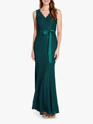 Adrianna Papell Long Lace Gown Forest
