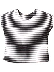 Cap Sleeve Stripe T Shirt Black White