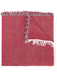Eleventy Fringed Hem Scarf Red