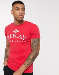 Replay Blue Jeans Logo Crew Neck T Shirt In Red