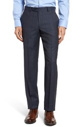 Nordstrom Men's Flat Front Plaid Wool Trousers Mid Blue