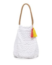 Pilyq Allison Crocheted Lace Beach Tote Bag White