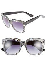 Women's Kensie 'Colette' 53Mm Studded Retro Sunglasses Striped Grey Feather Black