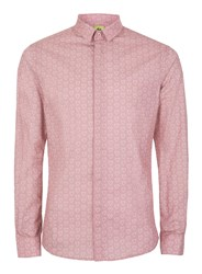 Topman Noose And Monkey Pink And White Heart Print Shirt