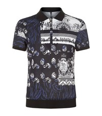 Versus By Versace Greek Patchwork Polo Shirt Male Blue