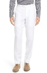 Nordstrom Men's Big And Tall Men's Shop Flat Front Solid Linen Trousers White