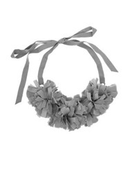 French Connection Pom Pom Collar Necklace Grey