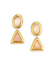 Stephanie Kantis Crush Rose Quartz And White Quartz Drop Earrings Pink