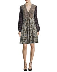 Etro Bishop Sleeve Snow Leopard Print Dress Blue Black Navy Multi