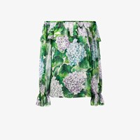 Dolce And Gabbana Hydrangea Print Off Shoulder Blouse Green