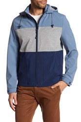 Kenneth Cole Hooded Colorblock Jacket Blue