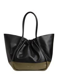 Proenza Schouler Xl Two Tone Smooth Leather Tote Bag Dark Green