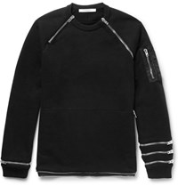 Givenchy Cuban Fit Zip Detailed Cotton Jersey Sweatshirt Black