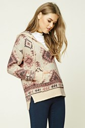 Forever 21 Tribal Print Woolen Sweater Cream Pink