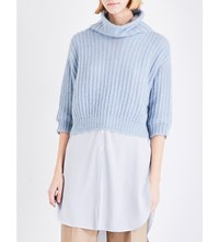 Brunello Cucinelli Turtleneck Cropped Knitted Jumper Sky Blue