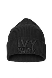Ribbed Logo Beanie By Ivy Park Black
