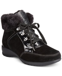 Sporto Mia Lace Up Faux Fur Hiker Booties Women's Shoes Black
