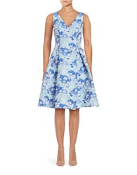 Adrianna Papell Jacquard Printed Party Dress Blue Multi
