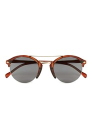 Topman Brown Crystal Round Half Frame Sunglasses